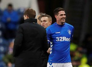 Kyle Lafferty and Steven Gerrard On The Touclhine